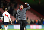 Liverpool manager Jurgen Klopp celebrates the 3-0 win at full time during the Premier League match between Bournemouth and Liverpool at the Vitality Stadium, Bournemouth, England on 7 December 2019.