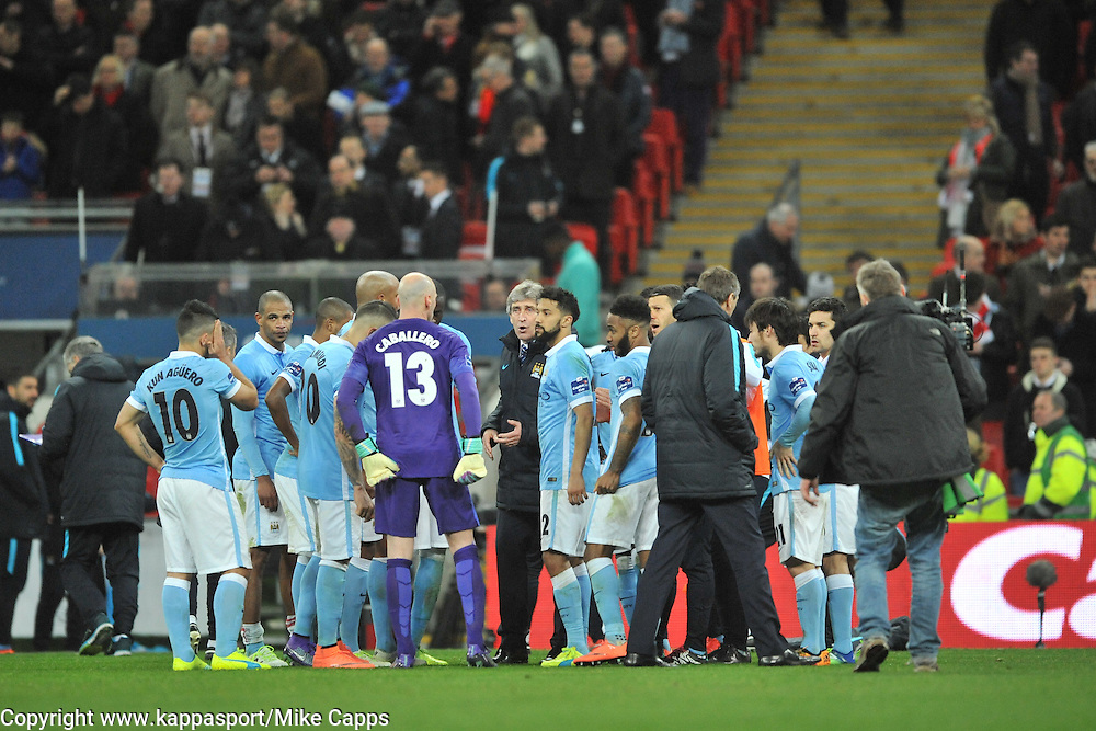MANCHESTER CITY PREPARE FOR EXTRA TIME, AFTER 90 MINUTES AND SCORE 1-1Liverpool FC v Manchester City FC Capital One Cup Final, Wembley Stadium, Sunday 28th Febuary 2016
