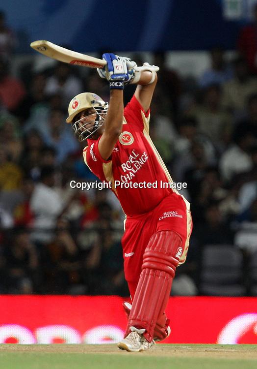 Royal Challengers Bangalore Batsman Rahul Dravid Hit The Shot During The Indian Premier League - 46th match Twenty20 match | 2009/10 season Played at Vidarbha Cricket Association Stadium, Jamtha, Nagpur 12 April 2010 - day/night (20-over match)