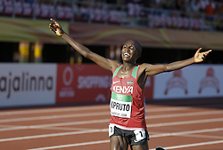 July 10, 2018 - Tampere, Suomi Finland - 180710 Friidrott, Junior-VM, Dag 1: Rhonex Kipruto KEN celebrating win of the  10000 Meters  during the IAAF World U20 Championships day 1 at the Ratina stadion 10. July 2018 in Tampere, Finland. (Newspix24/Kalle Parkkinen) (Credit Image: © Kalle Parkkinen/Bildbyran via ZUMA Press)