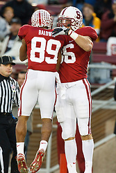 November 27, 2010; Stanford, CA, USA;  Stanford Cardinal tight end Zach Ertz (86) celebrates with wide receiver Doug Baldwin (89) after scoring a touchdown against the Oregon State Beavers during the first quarter at Stanford Stadium.