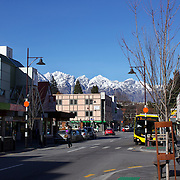 A view of Queenstown town centre, New Zealand with the snow capped Remarkables mountain range providing a stunning backdrop..Queenstown is nestled on the shores of the crystal clear waters of Lake Wakatipu in the Central Otago region of the South Island of New Zealand..Queenstown is New Zealand's premier tourist destination providing an abundance of year round outdoor activities for both young and old. Queenstown, Central Otago, South Island, New Zealand. 18th May 2011. Photo Tim Clayton..