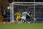 31st October 2018, Kilmac Stadium, Dundee, Scotland; Ladbrokes Premiership football, Dundee v Celtic; Odsonne Edouard of Celtic scores for 4-0 in the 45th minute