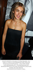 SAHAR HASHEMI co-founder of Coffee Republic, at a party in London on 22nd September 2003.PMW 243