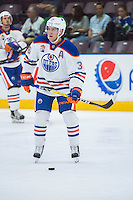 PENTICTON, CANADA - SEPTEMBER 16: Drake Caggiula #36 of Edmonton Oilers warms up against the Vancouver Canucks on September 16, 2016 at the South Okanagan Event Centre in Penticton, British Columbia, Canada.  (Photo by Marissa Baecker/Shoot the Breeze)  *** Local Caption *** Drake Caggiula;
