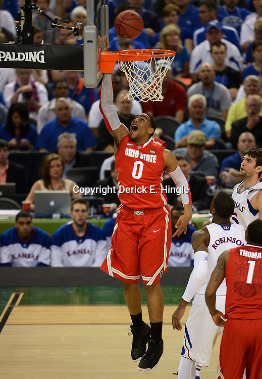 Mar 31, 2012; New Orleans, LA, USA; Ohio State Buckeyes forward Jared Sullinger (0) shoots a lay up against the Kansas Jayhawks during the first half in the semifinals of the 2012 NCAA men's basketball Final Four at the Mercedes-Benz Superdome. Mandatory Credit: Derick E. Hingle-US PRESSWIRE