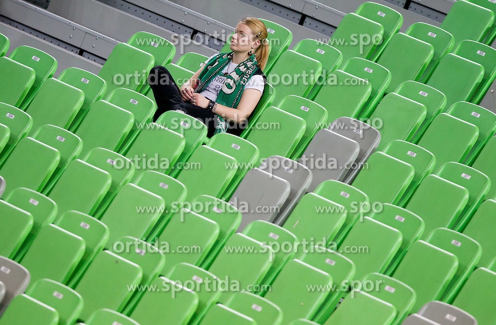 Fans of Olimpija during basketball match between KK Union Olimpija and KK Krka Novo mesto in 10th Round or Slovenian Champions League 2011/12, on April 28, 2012 in Arena Stozice, Ljubljana, Slovenia. Krka defeated Union Olimpija 73-67. (Photo by Vid Ponikvar / Sportida.com)