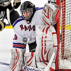 NORTH YORK, ON - Feb 9 : Ontario Junior Hockey League Game Action between North York Rangers Hockey Club and the Trenton Golden Hawks Hockey Club.  Jason Pucciarelli #30 of the North York Rangers Hockey Club makes the save during second period game action.<br /> (Photo by Phillip Sutherland / OJHL Images)