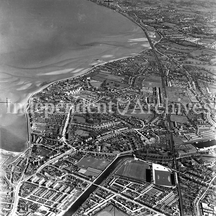 A396 Sandymount and Merrion. Source E.H. 07/08/51. (Part of the Independent Newspapers Ireland/NLI collection.)<br /> <br /> These aerial views of Ireland from the Morgan Collection were taken during the mid-1950's, comprising medium and low altitude black-and-white birds-eye views of places and events, many of which were commissioned by clients. From 1951 to 1958 a different aerial picture was published each Friday in the Irish Independent in a series called, 'Views from the Air'.