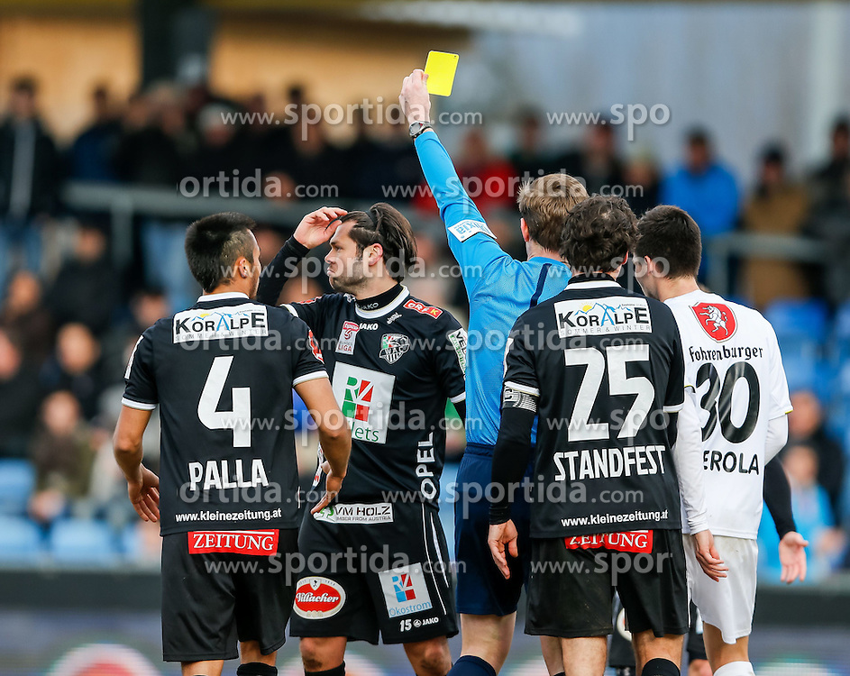 28.02.2015, Cashpoint Arena, Altach, AUT, 1. FBL, SCR Altach vs RZ Pellets WAC, 22. Runde, im Bild gelbe Karte fuer Joachim Standfest, (RZ Pellets WAC, #25) von Mag. Markus Hameter, (Schiedsrichter)// during Austrian Football Bundesliga Match, 22th round, between SCR Altach vs RZ Pellets WAC at the Cashpoint Arena, Altach, Austria on 2015/02/28. EXPA Pictures © 2015, PhotoCredit: EXPA/ Peter Rinderer