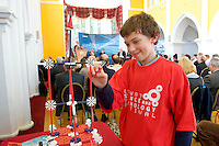 Conall McCabe, Clarenbridge, St. Pats National School  at the Science and Technology Festival programme launch at NUI, Galway  by Mr. William Hawkins, Chairman and CEO of Medtronic Inc., who employ 2000 people in Ireland and 44,000 worldwide in the Medical devices sector. The Festival runs from the 8th till the 21st of November in County Galway. Photo:Andrew Downes.