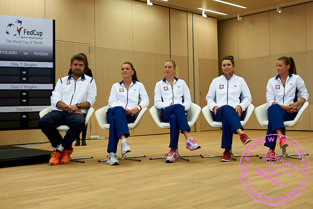 (L-R) Trainer coach Tomasz Wiktorowski and Agnieszka Radwanska and Urszula Radwanska and Klaudia Jans Ignacik and Alicja Rosolska all from Poland during official draw one day before the Fed Cup / World Group 1st round tennis match between Poland and Russia at Holiday Inn on February 6, 2015 in Cracow, Poland.<br /> <br /> Poland, Cracow, February 6, 2015<br /> <br /> Picture also available in RAW (NEF) or TIFF format on special request.<br /> <br /> For editorial use only. Any commercial or promotional use requires permission.<br /> <br /> Adam Nurkiewicz declares that he has no rights to the image of people at the photographs of his authorship.<br /> <br /> Mandatory credit:<br /> Photo by &copy; Adam Nurkiewicz / Mediasport