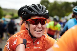 Chloe Hosking (AUS) celebrates with her teammates after winning Stage 1 of 2020 Santos Women's Tour Down Under, a 116.3 km road race from Hahndorf to Macclesfield, Australia on January 16, 2020. Photo by Sean Robinson/velofocus.com