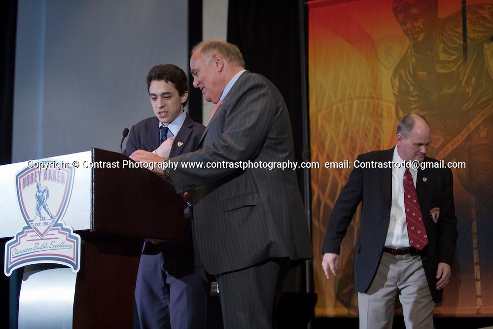 2014 Hobey Baker Award winner Johnny Gaudreau (Boston College) at the Loews Hotel, Center City in Philadelphia, PA Friday April 11th 2014<br /> <br /> Mandatory Credit: Todd Bauders/ ContrastPhotography.com