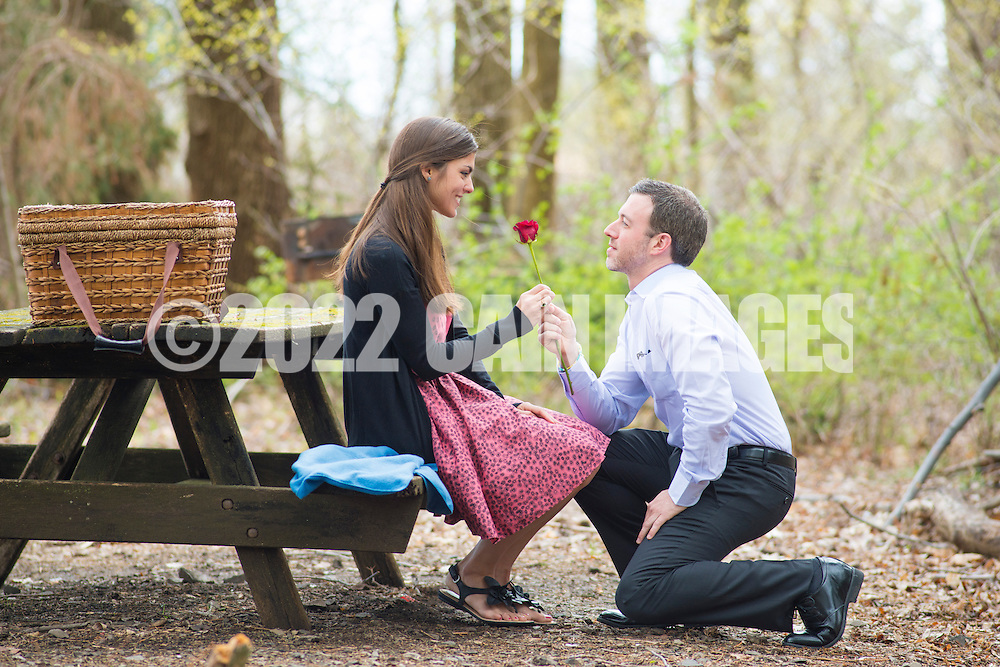 NEWTOWN, PA. - APRIL 13:  Janikic engagement shoot @ Tyler Park April 13, 2013 in Newtown, Pennsylvania. (Photo by William Thomas Cain/Cain Images).http://www.loveweddingphotos.com