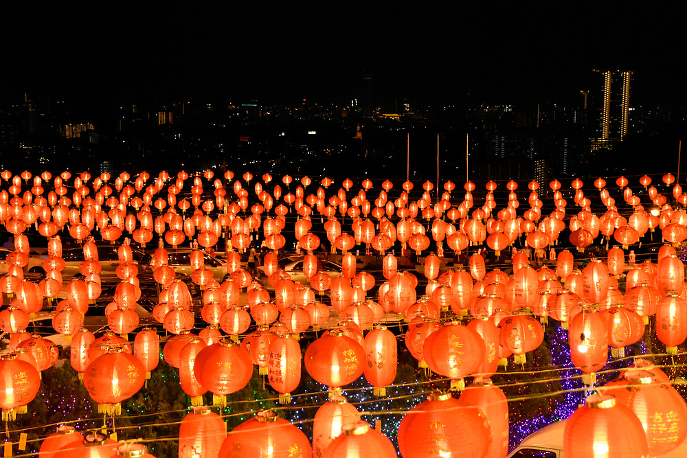 Lanterns over the park area of the kek Lok Si temple at Night for Chinese New Year
