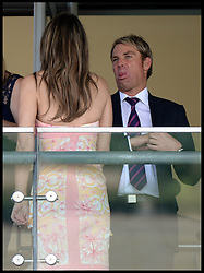 Liz Hurley with her partner Shane Warne watch the first race at Ascot Races, Ascot, United Kingdom<br />