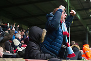 Scunthorpe United fan celebrates as Scunthorpe United striker Lee Novak (17) scores a goal 1-2 during the EFL Sky Bet League 1 match between Scunthorpe United and Rotherham United at Glanford Park, Scunthorpe, England on 10 February 2018. Picture by Craig Zadoroznyj.