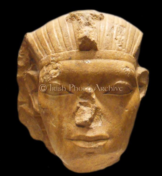 Head of a King, possibly Amememhat IV, Middle Kingdom. 12th Dynasty, ca. 1814–1805 B.C. Egypt, Memphite Region, Lisht North, Pyramid Temple of Amememhat I