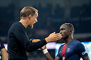 Thomas TUCHEL (PSG) greated Moussa DIABY (PSG) during the French Championship Ligue 1 football match between Paris Saint-Germain and AS Saint-Etienne on September 14, 2018 at Parc des Princes stadium in Paris, France - Photo Stephane Allaman / ProSportsImages / DPPI