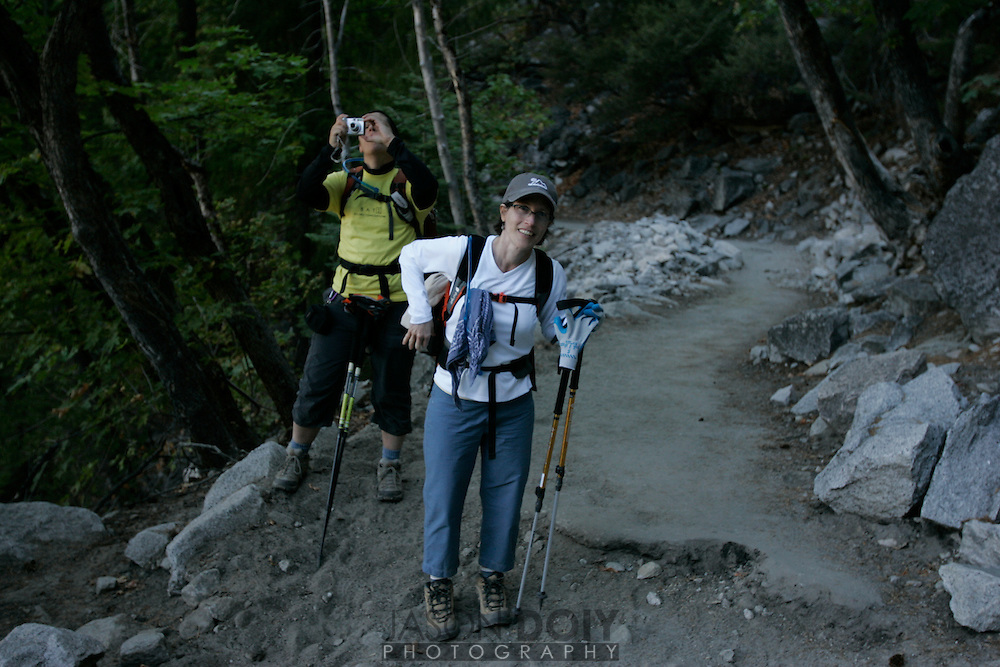 Members of the BAYS group (Bay Area Young Survivors) hike Half Dome to raise money for cancer research. ..photo by Jason Doiy