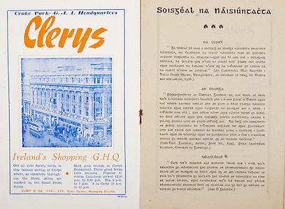 All Ireland Senior Hurling Championship Final,.Programme,.07.09.1952, 09.07.1952, 7th September 1952, .Cork 2-14, Dublin 0-7,.Minor Dublin v Tipperary,.Senior Cork v Dublin, .Croke Park, ..Advertisements, Clery's Ireland's Shopping GHQ, ..Articles, Soisgeal Na Naisiuntacta, .