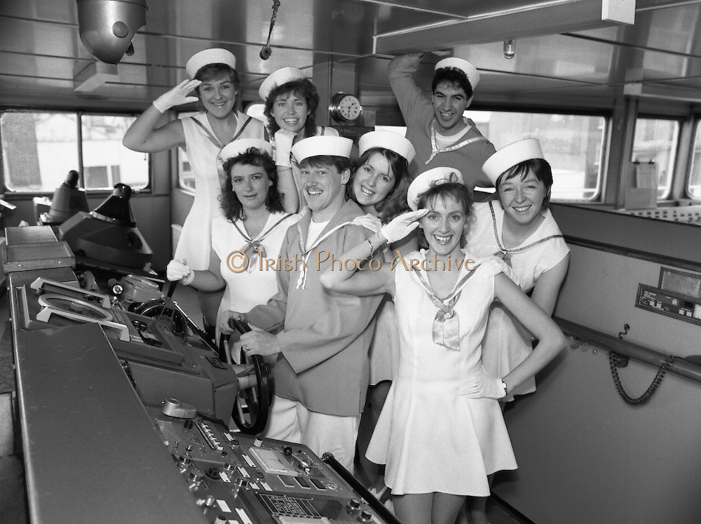 """""""Dames At Sea""""  (R67)..1987..19.11.1987..11.19.1987..19th November 1987..Aboard the SS Miranda, a Guinness ship, the cast of the musical revue """"Dames at Sea"""" went through their paces to promote the show...Image shows members of the cast of """"Dames At Sea' posing for promotional pictures aboard the SS Miranda."""