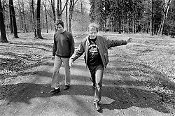 Lany, Spring 1990 - Presidential Residence.A walk on the grounds, accompanied by his bodyguard.