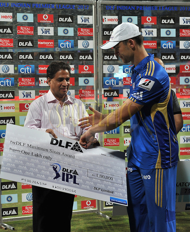 James Franklin of Mumbai Indians receives the DLF maximum six award during match 28 of the Indian Premier League ( IPL) 2012  between The Mumbai Indians and the Kings X1 Punjab held at the Wankhede Stadium in Mumbai on the 22nd April 2012..Photo by Pal Pillai/IPL/SPORTZPICS.
