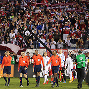 Landon Donovan, USA, leads the team out during his farewell match during the USA Vs Ecuador International match at Rentschler Field, Hartford, Connecticut. USA. 10th October 2014. Photo Tim Clayton