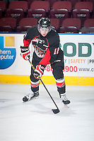 KELOWNA, CANADA - DECEMBER 30: Jansen Harkins #12 of Prince George Cougars stick handles the puck during warm up against the Kelowna Rockets on December 30, 2014 at Prospera Place in Kelowna, British Columbia, Canada.  (Photo by Marissa Baecker/Shoot the Breeze)  *** Local Caption *** Jansen Harkins;