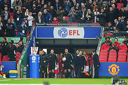 REFEREE ANDRE MARRINER LEADS OUT THE TEAMS EFL Cup Final, Manchester United v Southampton FC, Wembley Stadium Sunday 26th February 2017