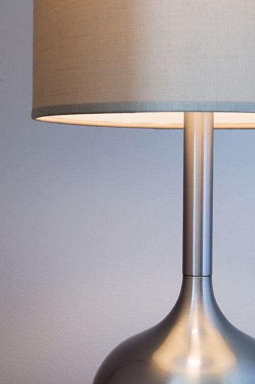 Modern silver lamp and shade
