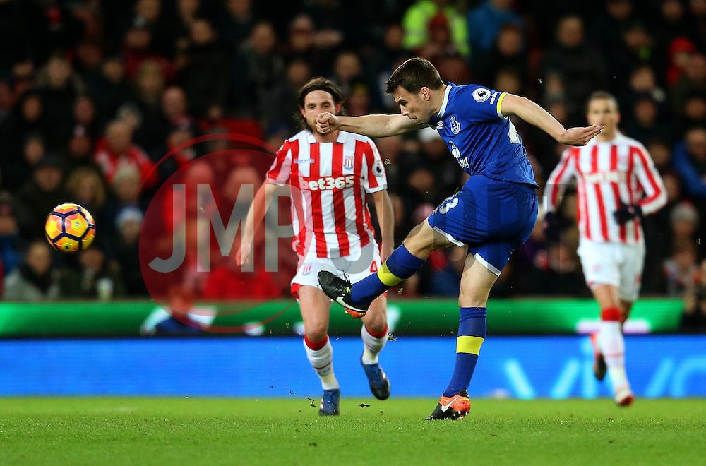 Seamus Coleman of Everton fires a shot at goal  - Mandatory by-line: Matt McNulty/JMP - 01/02/2017 - FOOTBALL - Bet365 Stadium - Stoke-on-Trent, England - Stoke City v Everton - Premier League