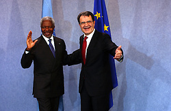 BRUSSELS, BELGIUM - JAN-28-2004 - Kofi Annan , Secretary General of the United Nations is greeted by Romano Prodi , President of the European Commission .   (Photo © Jock Fistick)