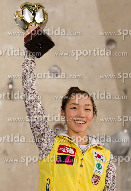 Overall Winner Jain Kim of Korea at medal ceremony during Final IFSC World Cup Competition in sport climbing Kranj 2010, on November 14, 2010 in Arena Zlato polje, Kranj, Slovenia. (Photo By Vid Ponikvar / Sportida.com)