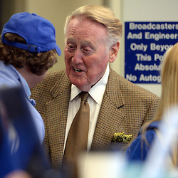 Los Angeles Dodgers and Hall of Fame announcer Vin Scully prior to a Major League Baseball game against the Colorado Rockies on Thursday, May 14, 2015 in Los Angeles. <br /> (Photo by Keith Birmingham/ Pasadena Star-News)