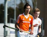 ROTTERDAM -   Valentijn Charbon (Neth) with  Daniel West (r)   Practice Match  Hockey : Netherlands Boys U16  v England U16 . COPYRIGHT KOEN SUYK