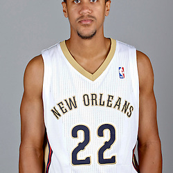 Sep 30, 2013; Metairie, LA, USA; New Orleans Pelicans point guard Brian Roberts (22) poses for a portrait at Pelicans Practice Facility. Mandatory Credit: Derick E. Hingle-USA TODAY Sports