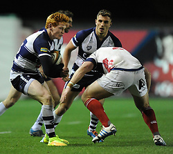 Bristol Rugby centre, Jack Tovey braces for impact - Photo mandatory by-line: Paul Knight/JMP - Mobile: 07966 386802 - 05/12/2014 - SPORT - Rugby - Bristol - Ashton Gate - Bristol Rugby v London Scottish - B&I Cup