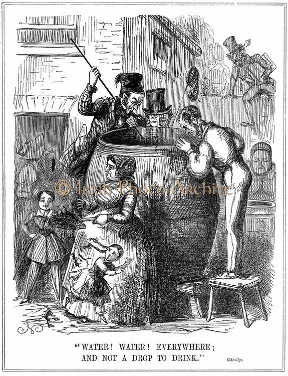 Water! Water! Everywhere; And not a drop to drink'  Comment on London water supply during reappearance of cholera in 1848 and 1849. Cartoon from 'Punch', London, 1849, with a mis-quote from Coleridge 'Rhyme of the Ancient Mariner'. Wood engraving