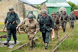 Bowes Railway Springwell Village 1940s weekend German troops capture a US Paratrooper<br /> <br />  Copyright Paul David Drabble<br />  30 June 2019<br />  www.pauldaviddrabble.co.uk