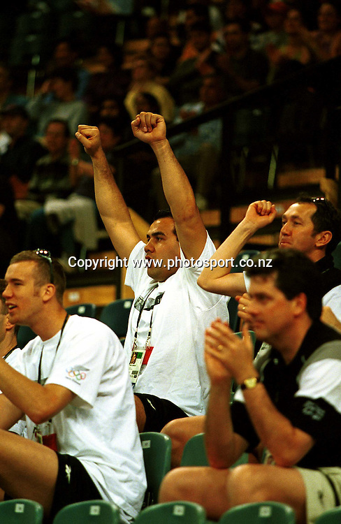 New Zealand Tall Blacks captain Pero Cameron attends the Women's basketball match between the New Zealand Tall Ferns and Poland at the Olympics in Sydney, Australia on 16 September, 2000. Photo: Dean Treml/PHOTOSPORT<br />