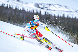 17.02.2019, Aare, SWE, FIS Weltmeisterschaften Ski Alpin, Slalom, Herren, 1. Lauf, im Bild Loic Meillard (SUI) // Loic Meillard of Switzerland in action during his 1st run of men's Slalom of FIS Ski World Championships 2019. Aare, Sweden on 2019/02/17. EXPA Pictures © 2019, PhotoCredit: EXPA/ Dominik Angerer