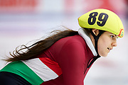 Graz, Austria - 2017 March 24: Viktora Marosi from from SO Hungary (89) competes in Speed Skating 333 meters race while Special Olympics World Winter Games Austria 2017 at Icestadium Graz Liebenau on March 24, 2017 in Graz, Austria.<br /> <br /> Mandatory credit:<br /> Photo by &copy; Adam Nurkiewicz / Mediasport<br /> <br /> Adam Nurkiewicz declares that he has no rights to the image of people at the photographs of his authorship.<br /> <br /> Picture also available in RAW (NEF) or TIFF format on special request.<br /> <br /> Any editorial, commercial or promotional use requires written permission from the author of image.<br /> <br /> Image can be used in the press when the method of use and the signature does not hurt people on the picture.