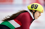 Graz, Austria - 2017 March 24: Viktora Marosi from from SO Hungary (89) competes in Speed Skating 333 meters race while Special Olympics World Winter Games Austria 2017 at Icestadium Graz Liebenau on March 24, 2017 in Graz, Austria.<br /> <br /> Mandatory credit:<br /> Photo by © Adam Nurkiewicz / Mediasport<br /> <br /> Adam Nurkiewicz declares that he has no rights to the image of people at the photographs of his authorship.<br /> <br /> Picture also available in RAW (NEF) or TIFF format on special request.<br /> <br /> Any editorial, commercial or promotional use requires written permission from the author of image.<br /> <br /> Image can be used in the press when the method of use and the signature does not hurt people on the picture.