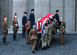 A coffin is taken up the steps of St.Paul's Cathedral in London during the early morning dress rehearsal for Baroness Thatcher's funeral, Monday 15th April 2013 Photo by: Stephen Lock / i-Images