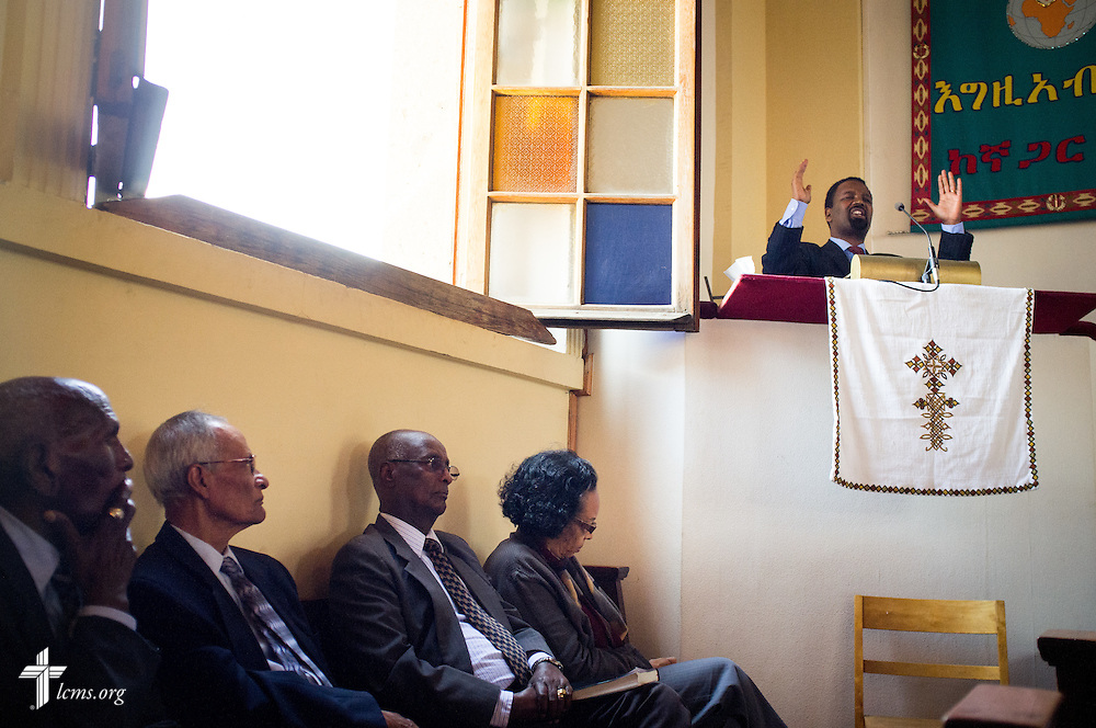 A preacher delivers a sermon during worship at the EECMY Mother Church in Addis Ababa, Ethiopia, on Sunday, Nov. 9, 2014. LCMS Communications/Erik M. Lunsford