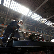 "LNER 4-6-2 No. 4472 ""Flying Scotsman"" undergoing restoration work."