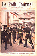 Wilhelm II (1859-1941) Emperor of Germany from 1888-1919, wounded in the eye while on his Royal yacht. From 'Le Petit Journal', Paris, 25 July 1897.